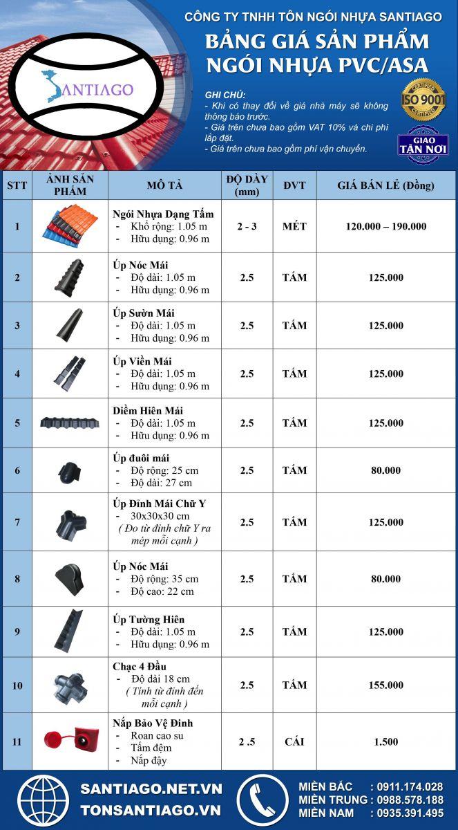 giá ngói nhựa asa pvc 4 lớp santiago