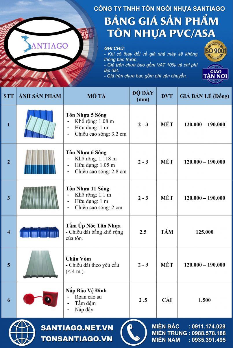 bảng báo giá tôn nhựa pvc asa 4 lớp santiago