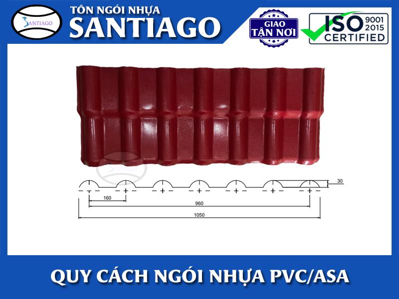 kích thước tấm ngói nhựa pvc asa Santiago